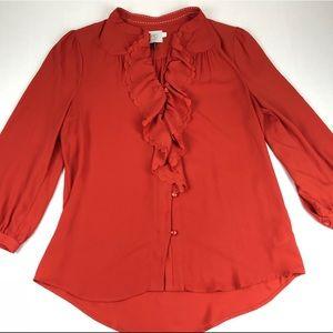 HD in Paris silk orange ruffle blouse Button 10